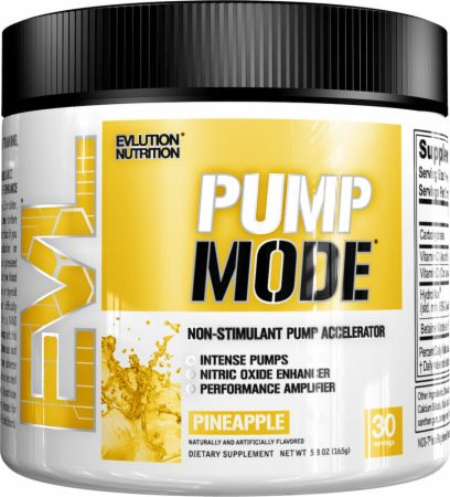 EVLUTION NUTRITION PumpMode Pineapple 30 Servings - Stimulant Free Pre-Workout