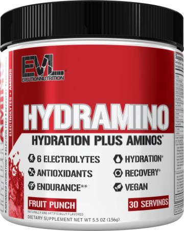 Image of HYDRAMINO Electrolytes + Amino Acids Fruit Punch 30 Servings - During Workout EVLUTION NUTRITION