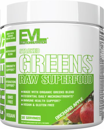 Image of Stacked Greens Orchard Apple 30 Servings - Greens EVLUTION NUTRITION