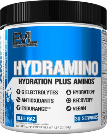 Image of HYDRAMINO Electrolytes + Amino Acids Blue Raz 30 Servings - During Workout EVLUTION NUTRITION