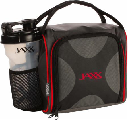 Image of Fit & Fresh Jaxx FitPak Meal Prep Bag with Portion Control Containers Black/Red
