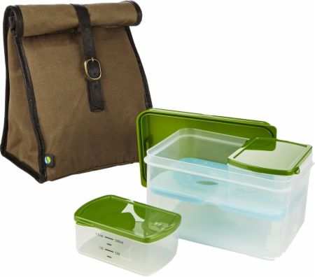 Classic Insulated Bag Kit with Lunch on the Go Container Set and Reusable Ice Pack