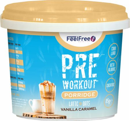 Image of Feel Free Nutrition Pre Workout Porridge 1 - 85g Cup Latte + Oats Vanilla Caramel