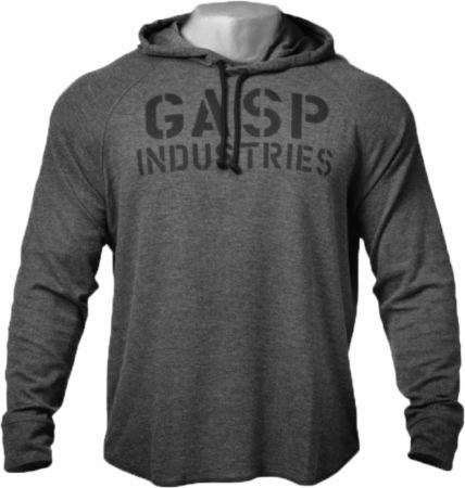 Image of GASP Long Sleeve Thermal Hoodie Large Antracite Melange