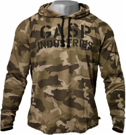 Image of GASP Long Sleeve Thermal Hoodie Large Green Camoprint