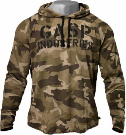 Image of GASP Long Sleeve Thermal Hoodie Medium Green Camoprint