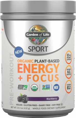 Garden Of Life Sport Organic Plant-Based Energy + Focus Blackberry 30 Servings - Pre-Workout Supplements