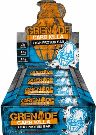 Image of Carb Killa Protein Bar Cookies & Cream 12 - 60g Bars - Protein Bars Grenade