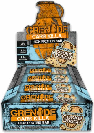 Image of Carb Killa Protein Bar Chocolate Chip Cookie Dough 12 - 60g Bars - Protein Bars Grenade