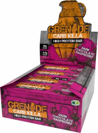 Image of Carb Killa Protein Bar Dark Chocolate Raspberry 12 - 60g Bars - Protein Bars Grenade