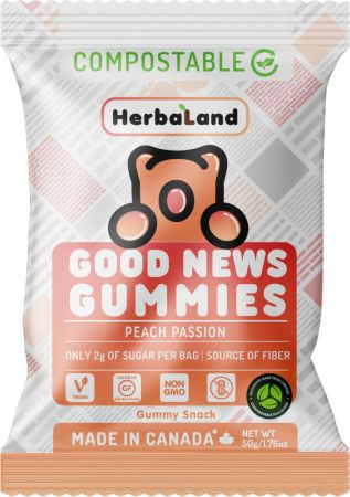 Image of Good News Gummies Peach Passion 1 - 50g Pouch - Healthy Snacks & Foods Herbaland