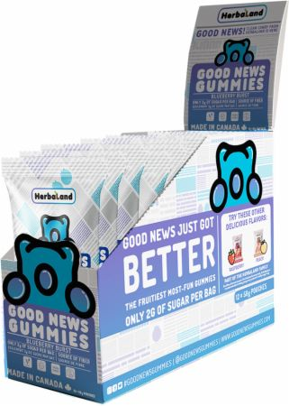 Image of Good News Gummies Blueberry Burst 12 - 50g Pouches - Healthy Snacks & Foods Herbaland