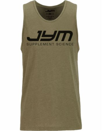 Image of Classic Logo Muscle Tank Military Green Heather Medium - Men's Tank Tops JYM Supplement Science