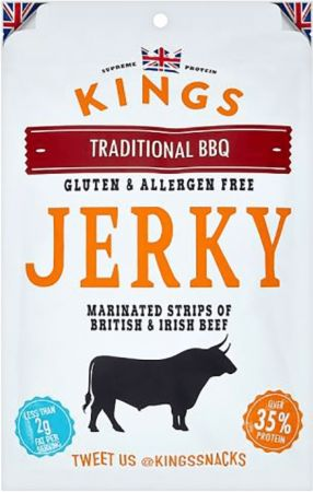 Image of Kings Elite Snacks Beef Jerky 1 x 350g Packet Traditional BBQ