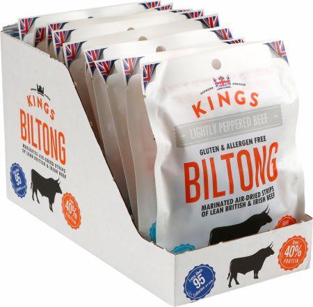 Image of Kings Elite Snacks Biltong 16 x 30g Packets Lightly Peppered