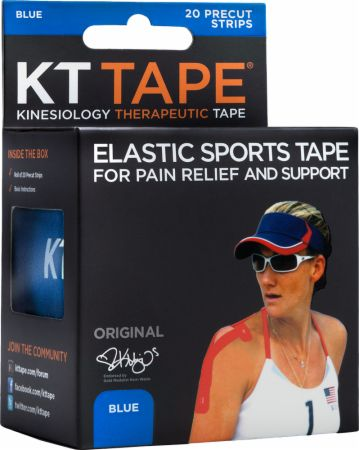 Image of KT Tape Elastic Sports Tape 20 - 10 Precut Strips Blue ""