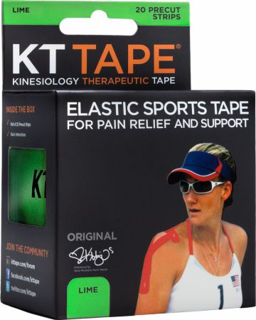 Image of KT Tape Elastic Sports Tape 20 - 10 Precut Strips Lime ""