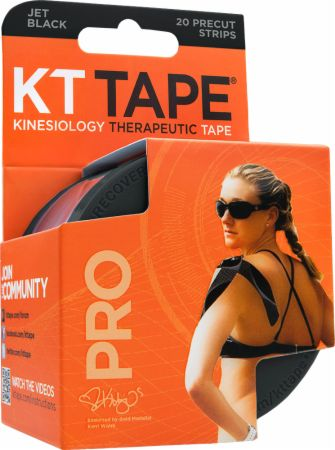 Image of KT Tape Pro Synthetic Tape 20 - 10 Precut Strips Jet Black ""