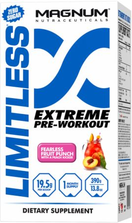 Magnum Nutraceuticals Limitless Fearless Fruit Punch with a Peach Kicker 20 Servings - Pre-Workout Supplements