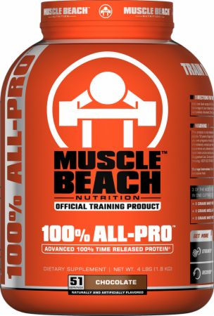 Image of 100% All-Pro Chocolate 4 Lbs. - Protein Powder Muscle Beach Nutrition