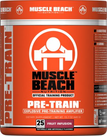 Muscle Beach Nutrition Pre-Train Fruit Infusion 25 Servings - Pre-Workout Supplements