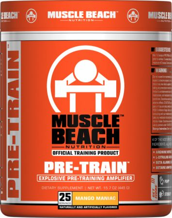Muscle Beach Nutrition Pre-Train Mango Maniac 25 Servings - Pre-Workout Supplements