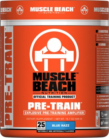 Muscle Beach Nutrition Pre-Train Blue Razz 25 Servings - Pre-Workout Supplements