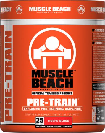 Muscle Beach Nutrition Pre-Train Tigers Blood 25 Servings - Pre-Workout Supplements