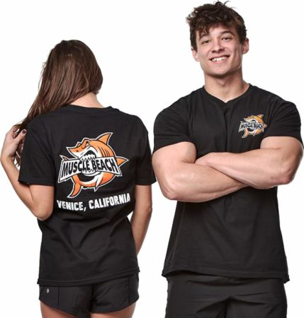 Image of Muscle Beach Shark Crunch T-Shirt Black Large - Men's T-Shirts Muscle Beach Nutrition
