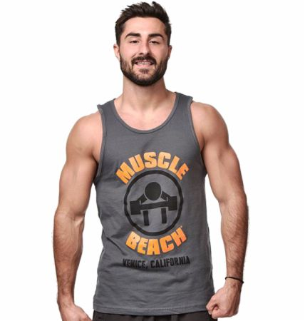 Image of The Original Muscle Beach Tank Top Grey Large - Men's Tank Tops Muscle Beach Nutrition