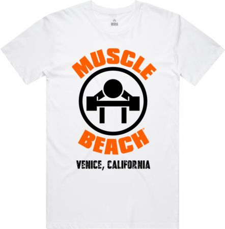 Image of The Original Muscle Beach T-Shirt White Medium - Men's T-Shirts Muscle Beach Nutrition