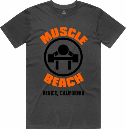 Image of The Original Muscle Beach T-Shirt Grey Large - Men's T-Shirts Muscle Beach Nutrition