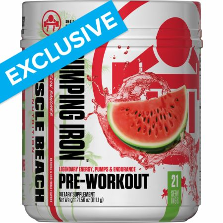 Image of Pumping Iron Pre-Workout Watermelon Rancher 21 Servings - Pre-Workout Muscle Beach Nutrition