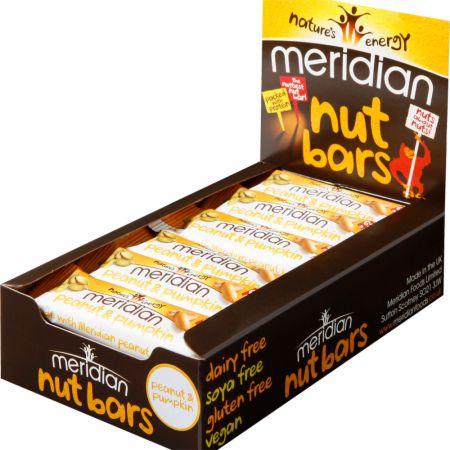 Image of Meridian Nut Bars 18 - 40g Bars Peanut & Pumpkin Seed