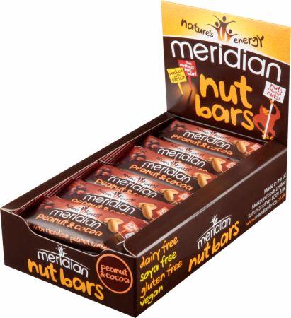 Image of Meridian Nut Bars 18 - 40g Bars Peanut & Cocoa