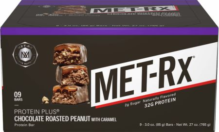 MET-Rx Protein Plus Bars Chocolate Roasted Peanut 9 Bars - Protein Bars