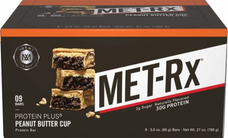 MET-Rx Protein Plus Bars Peanut Butter Cup 9 Bars - Protein Bars