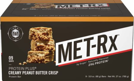 MET-Rx Protein Plus Bars Creamy Peanut Butter Crisp 9 Bars - Protein Bars