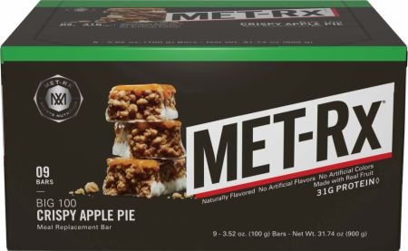 MET-Rx Big 100 Colossal Bars Crispy Apple Pie 9 - 100g Bars - Protein Bars