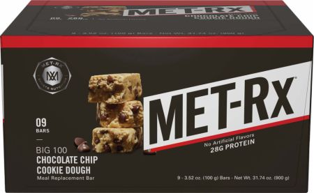 Image of Big 100 Chocolate Chip Cookie Dough 9 Bars - Protein Bars MET-Rx
