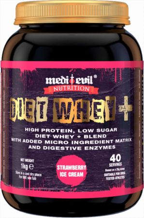Image of Medi Evil Diet Whey+ 1 Kilogram Strawberry and Cream