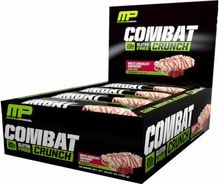 Image of MusclePharm Combat Crunch Bars 12 Bars White Chocolate Raspberry