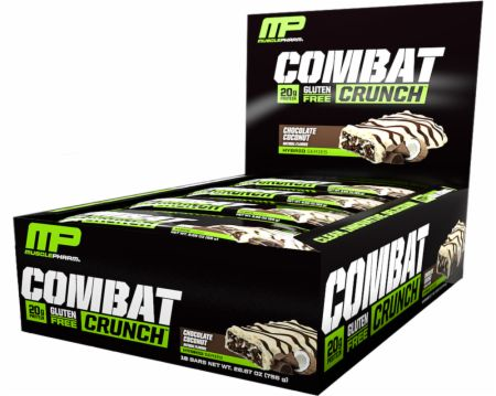 MusclePharm Combat Crunch Protein Bar, Multi-Layered Baked Bar, Gluten-Free Bars, 20 g Protein, Low-Sugar, Low-Carb, Gluten-Free