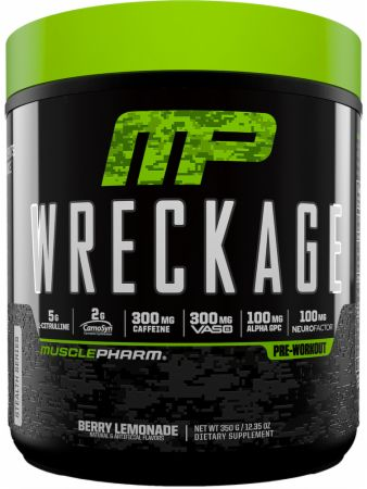MusclePharm Wreckage Pre-Workout Powder with Superior Focus, Extreme Energy and Sustained Pump - Nitric Oxide, Beta Alanine, and Caffeine