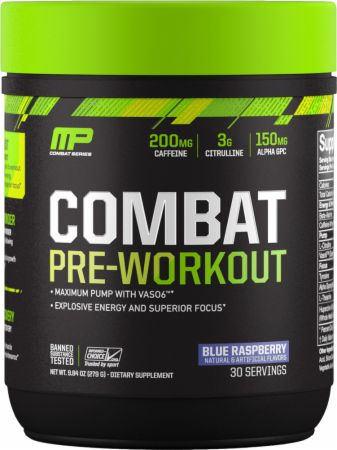 Combat Pre-Workout Blue Raspberry 30 Servings - Pre-Workout Supplements MusclePharm