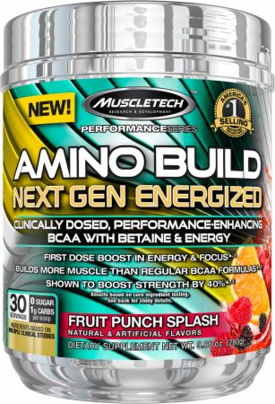 Amino Build Next Gen Fruit Punch Splash 30 Servings - Energized w/ Caffeine - Amino Acids & BCAAs MuscleTech