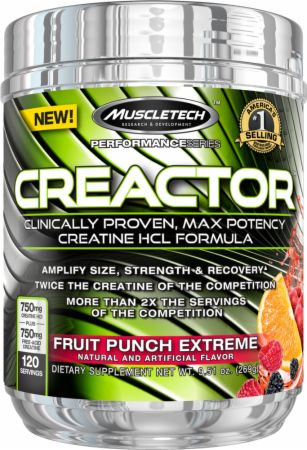 Image of Creactor Creatine HCl Fruit Punch Extreme 120 Servings - Creatine MuscleTech