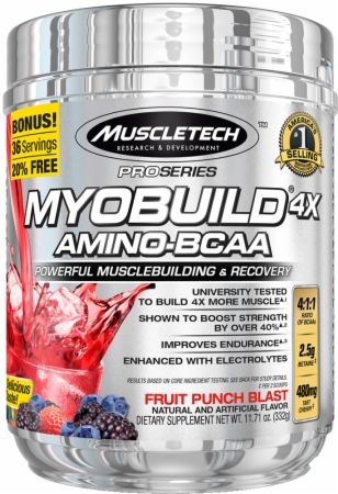 MyoBuild 4x Amino-BCAA Fruit Punch Blast 36 Servings - Amino Acids & BCAAs MuscleTech