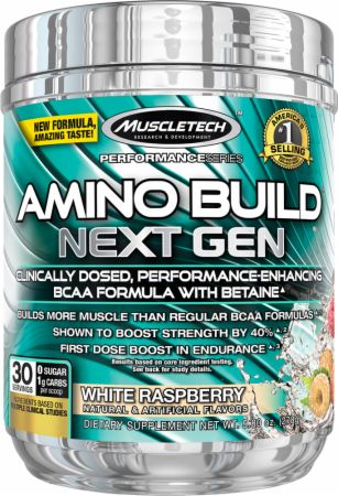 Image of Amino Build Next Gen White Raspberry 30 Servings - Amino Acids & BCAAs MuscleTech