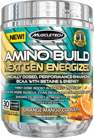 Image of Amino Build Next Gen Orange Mango Cooler 30 Servings - Energized w/ Caffeine - Amino Acids & BCAAs MuscleTech